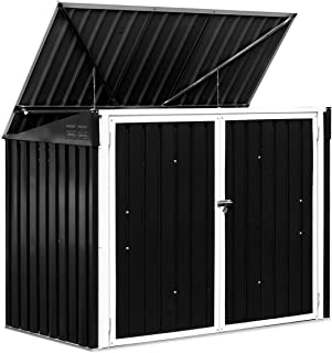 Goplus Horizontal Storage Shed Outdoor, Multi-function Storage Cabinet for Garden Yard Lawn, 6x3FT