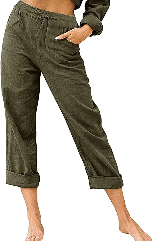 VLZUFE Women's Linen Pants Drawstring Elastic Waist Side Pockets Casual Cotton Loose Trousers Pants