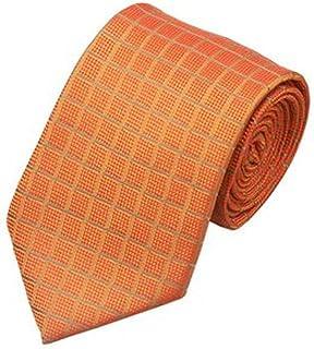 TigerTie Satin Seidenkrawatte orange reinorange gemustert Krawatte Seide Tie