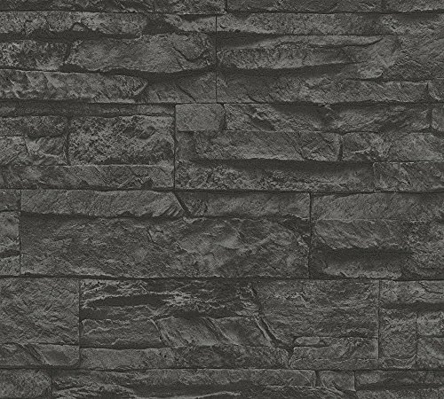 *A.S. Création Vliestapete Best of Wood and Stone Tapete in Stein Optik fotorealistische Steintapete Naturstein 10,05 m x 0,53 m grau schwarz Made in Germany 707123 7071-23*