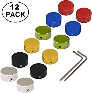 """SOLUTEK Pedal Footswitch Topper Metal Buttons with 3 Screws and Rubber Insert Fit Firmly on Pedal Switches(3/8""""10mm) Increase Comfort and Accuracy Red Silver Black Gold Blue Green 12 Pack"""