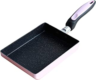 ploon Mini Square Egg Fry Pan,Nonstick Aluminum Cookware with Rubber Grip Handle Kitchen Accessories,Pink