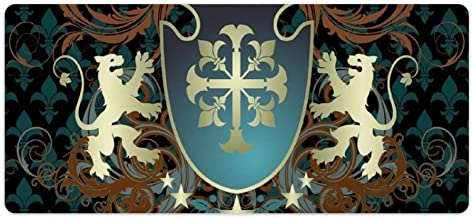 Extended Gaming Mouse Pad with Stitched Edges Waterproof Large Keyboard Mat Non-Slip Rubber Base Heraldic from Middle Ages Coat of Arms Crown Lions Swirls Desk Pad for Gamer Office Home 16x35 Inch
