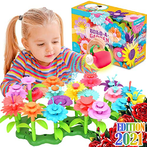 FunzBo Flower Toys for 3 Year Old Girls - Garden Building STEM Toy Gardening Pretend Gift for Kids Stacking Game Toddlers playset Educational Activity for Preschool Children Age 3 4 5 6 7 Year Old