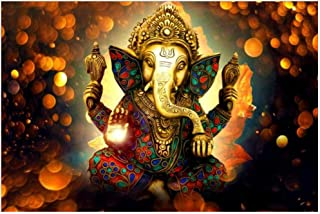 DNJKSA Modern Hinduism Posters and Prints Wall Art Canvas Painting Indian Gods Ganesha Decorative Pictures for Living Room Home Decor-60x90cm-No Frame