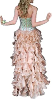 b0e622fbd1 LeoGirl Womens Country Strapless Beaded Hi Low Prom Dresses with Organza  Ruffles Pageant Formal Gown