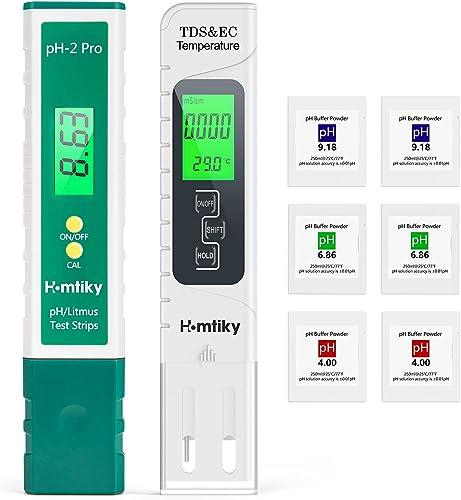 Mètre pH & TDS, Testeur de qualité de l'eau TDS pH 2 en 1, Précision de Mesure de 0 à 14 pH, 1 PPM Résolution, 2% Pré...