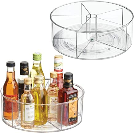 mDesign Deep Lazy Susan Turntable Storage Food Bin Container - Divided Spinning Organizer - 5 Sections - for Kitchen Cabinets, Pantry, Refrigerator, Countertops - BPA Free, 2 Pack - Clear