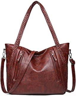 New Brand High Quality Soft Leather Large Pocket Casual Handbag Women'S Handbag Shoulder Bag Large Capacity Handbag Black ...