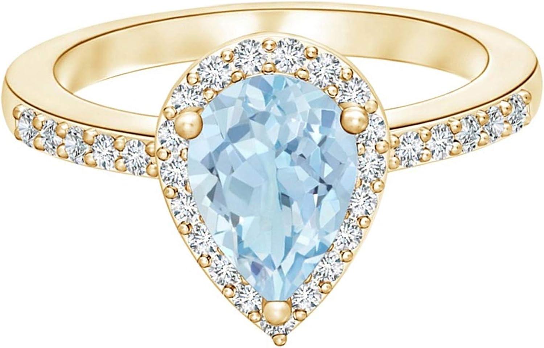 Shine Jewel Fashionable 0.75 Cts Pear-Shape Blue Gold Gemstone Aquamarine quality assurance 9k