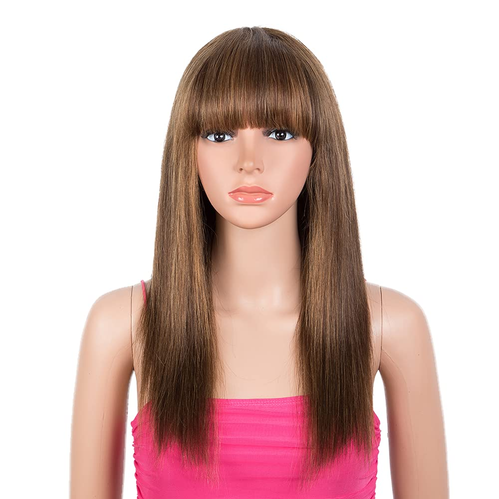 Be super welcome Rebecca Fashion 18 inch Indianapolis Mall Human Hair Bangs Wigs with 130% Straight