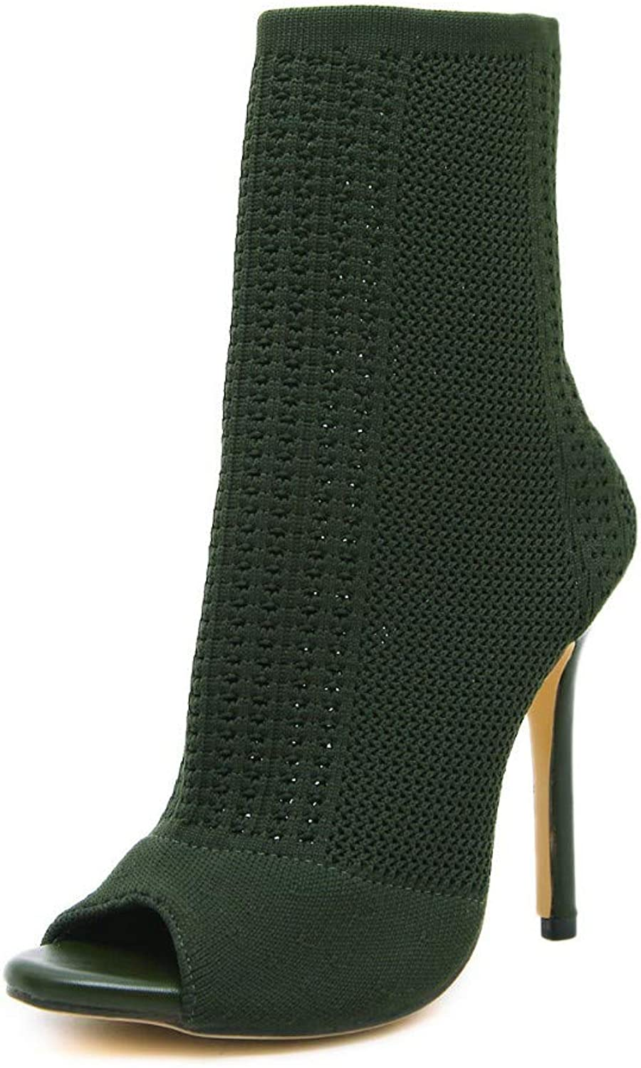 JQfashion Women's High-Heeled shoes Air-Permeable Knitted Socks Boots Hollow Fish-Mouth Boots