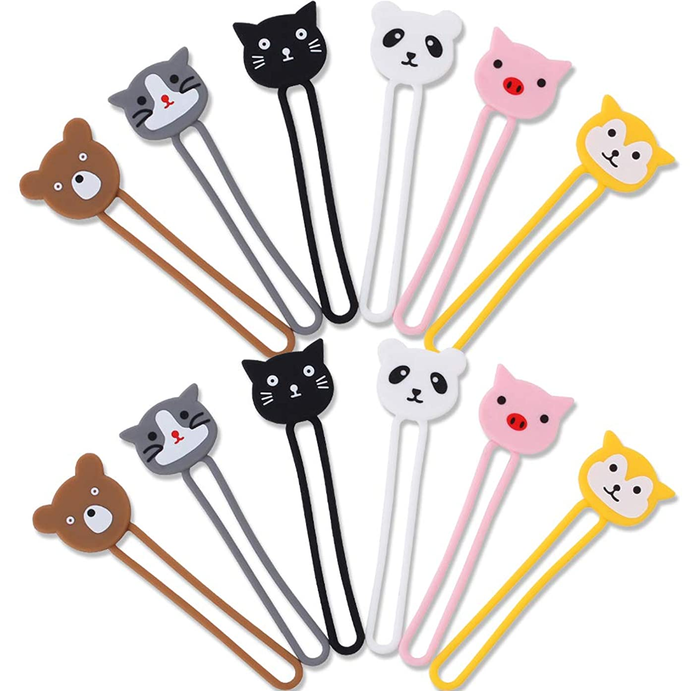 CKANDAY 12 Pack Cartoon Earphone Cable Tie Cord Organizer, 6 Colors of Animal Shapes Silicone Earbud Straps Holder Winders Wrap Key Chain Manager Keeper