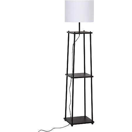 HOMCOM Lampadaire Design Contemporain 3 étagères intégrées 40 W Max. dim. 34L x 34l x 150H cm MDF métal Noir Abat-Jour Blanc