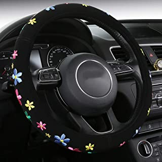 SHAKAR Embroidery Cute Flowers Steering Wheel Covers- Colorful Delux Steering Covers,Universal 15 inch (floral1)