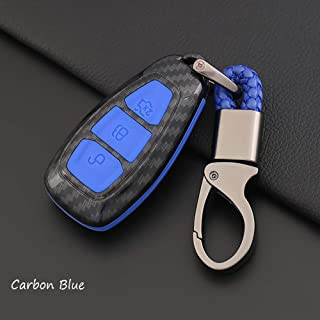 ontto Fit for Ford Carbon Fiber Smart Key Cover Case Key Shell Remote Key Box Key Chain Key Ring Prevent Scratch and Falling Fits Ford Mondeo Focus 3 MK3 ST Kuga Titanium (Blue)