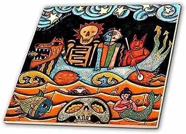 3dRose LLC ct_21127_4 The Devil Dream Folk Art Skulls Mexican Colorful Surrealism Ceramic Tile, 12-Inch