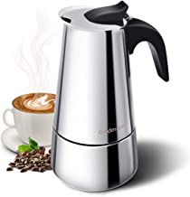 Godmorn Stovetop Espresso Maker, Moka Pot, Percolator Italian Coffee Maker, 300ml/10oz/6 Cup (Espresso Cup=50ml), Classic Cafe Maker, 430 Stainless Steel, Suitable for Induction cookers