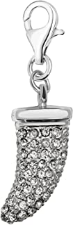 Quiges Silver Plated Zirconia Crystals Theme Clip on Charm Pendant with Lobster Clasp for Bracelets