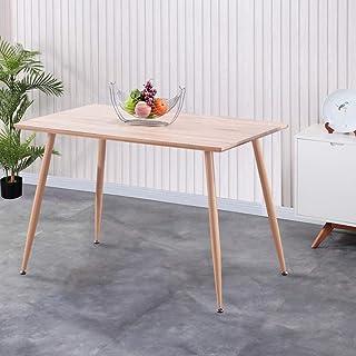 GOLDFAN Table de Salle à Manger en Bois Table de Cuisine Design Salon Rectangle Plateau MDF avec Pieds en Métal 113cm Naturel