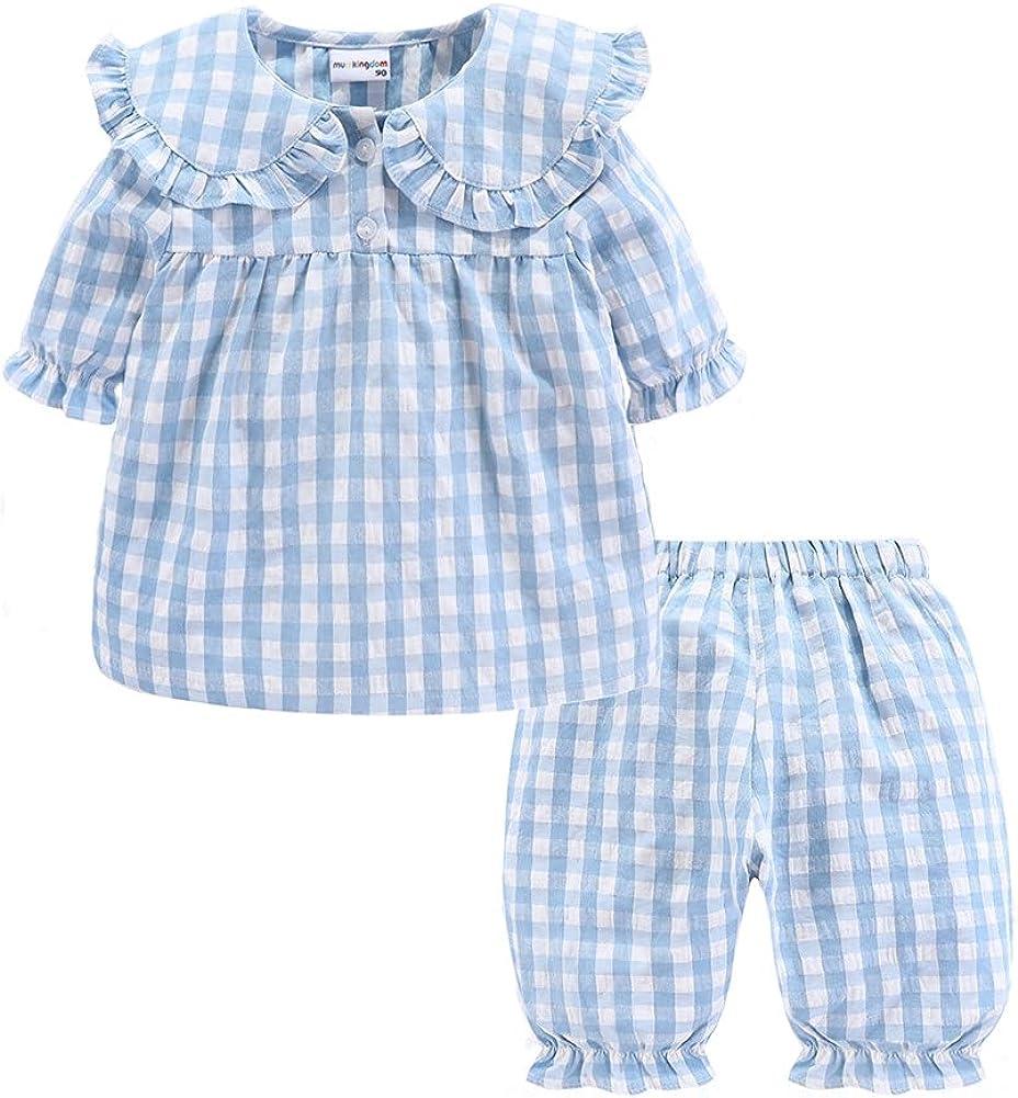 Mud Kingdom Girls Summer Pajama Set Plaid Cute Peter Pan Collar