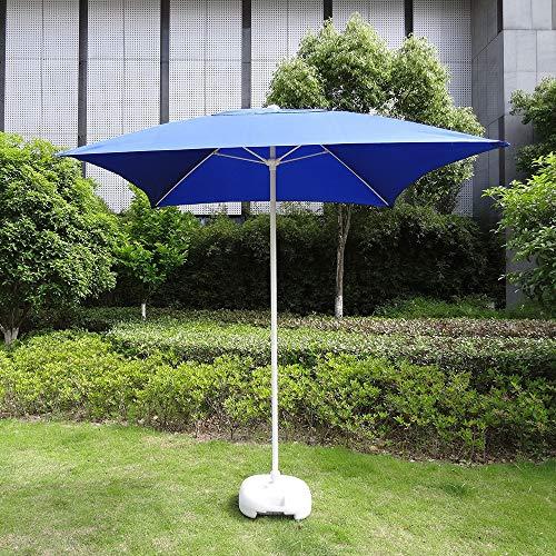 LJLYL 2.7M Sonnenschirm Gartenschirm, Außenplatz Tischschirm, Stahl 4Ribs Bewegliche Hand Push-Sonnenschirm, Für Garten-Rasen-Strand,Blau