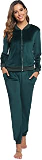 Akalnny Women Casual Basic Velour Sweatsuit Set Zip Up Hoodies and Pants Sports Suits Tracksuits