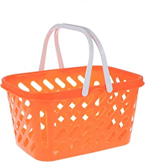 TOYMYTOY Shopping Basket Toy Portable Kids Plastic Grocery Basket with Handle for Children Kids Kitchen Pretend Play Toy (Orange)
