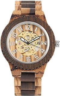 LYMUP Reloj de Madera Reloj de Hombre Negro ébano de Madera mecánico Reloj mecánico automático-Auto-Viento números árabes ...