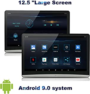 MCLAOSI 12.5 inch One Android 9.0 Headrest Video Players with WiFi, IPS Touch Screen 4K Play Movies, Support Netflix YouTube Sync Screens Phone Mirroring Bluetooth