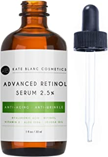 Retinol Serum 2.5% with Hyaluronic Acid & Vitamin E, C for Face, Acne Scars, Dark Spots by Kate Blanc. High Strength Anti-Aging Topical Facial Serum Without a Prescription. Organic Ingredients (1 oz)