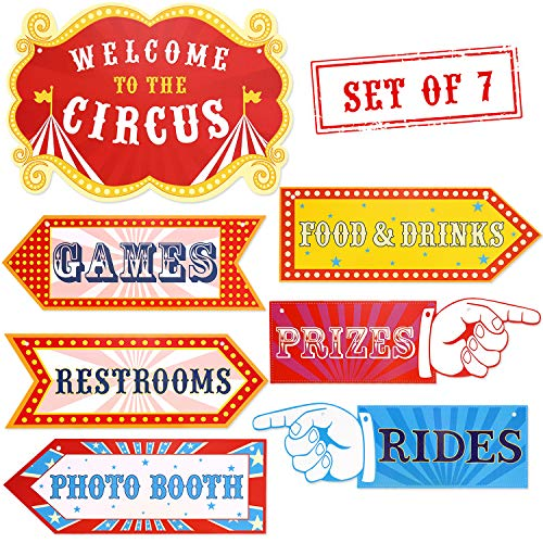 """Circus Carnival Birthday Party Directional Signs, Large Size 15"""" Circus Themed Signs Cutouts Set of 7, Greatest Showman Themed Party Supplies, Carnival Party Decoration Ideas"""