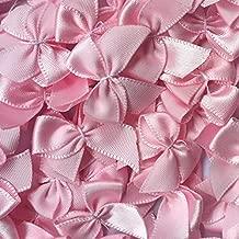 Chenkou Craft 60pcs Mini Satin Ribbon Bows Flowers 1x3/4 Appliques DIY Craft Pink Color