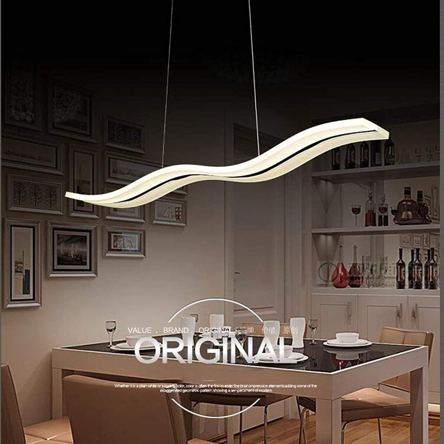 WHKHY 100 Cm40W Table Lamp Acrylic Personalized Fishing Line Led Chandelier Nordic Hotel Professional Simply Chandelier Chrome (Promise) Dimming with Remote Lighting Chandelier
