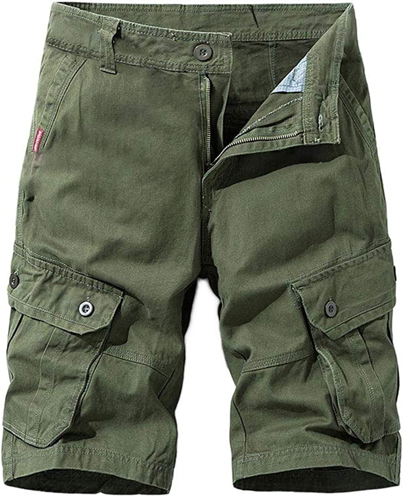 Gergeos Men's Relaxed Fit Outdoor Hiking Casual Cargo Shorts Chino Work Shorts with Multi Pockets (No Belt)