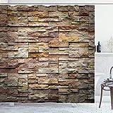 RTYRT 3D Bedruckter 180x200CM Marmor Duschvorhang Urban Brick Schiefer Steinmauer mit Felsen Hervorgehobene Fassade Architektur Stadt Bild Badezimmer Dekor Set