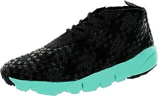 NIKE Mens Air Footscape Desert Chukka Black/White-Hyper Turquoise Leather