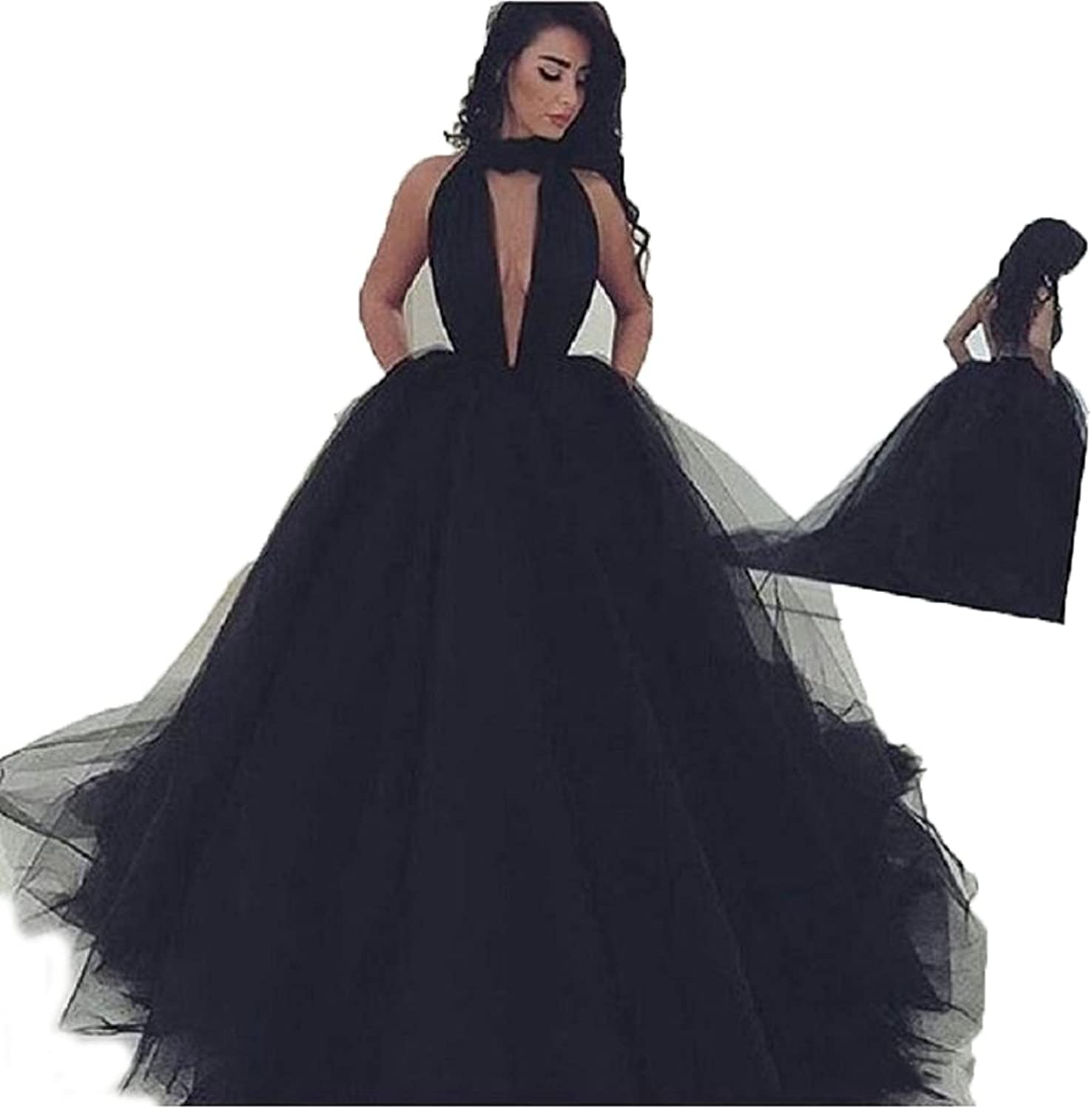 Mileyhouse Women's High Neck Prom Ball Gown ALine VNeck Tulle Formal Party Evening Dresses