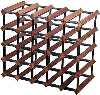 Support de casier à vin en bois avec support de rangement organisateur de comptoir casier à vin en acier galvanisé pour 25...