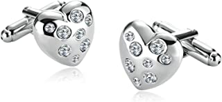 Epinki Stainless Steel Zirconia Love Heart Silver Unique Man Shirt Cuff Links for Wedding Business