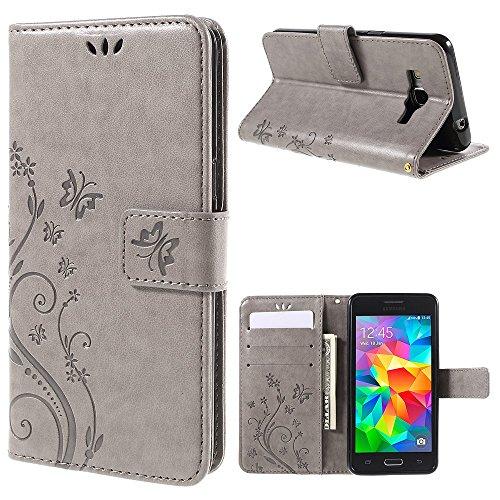 jbTec Handy Hülle Hülle Schmetterlinge passend für Samsung Galaxy Grand Prime - Schutz Tasche Smartphone Flip Cover Phone, Farbe:Grau