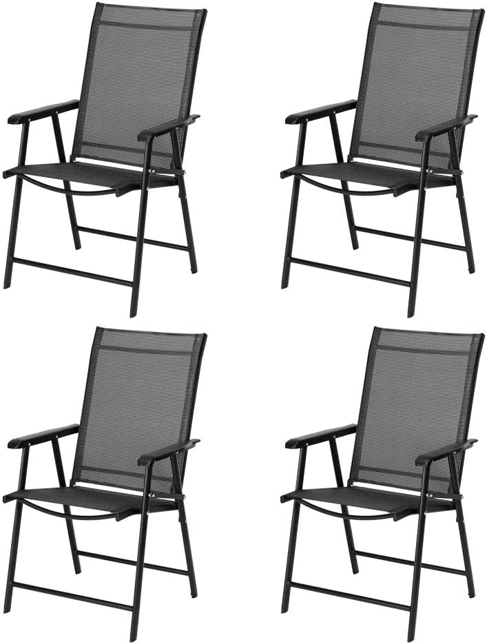 VINGLI Upgraded Set of Fashionable 4 Product Folding with Arms Portable Chairs Pati