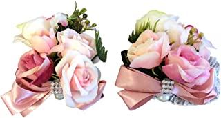 Abbie Home Prom Wrist Corsage Boutonniere Set for Suit Rose Flower Bow Rhinestone Décor for Party Wedding (Pink)