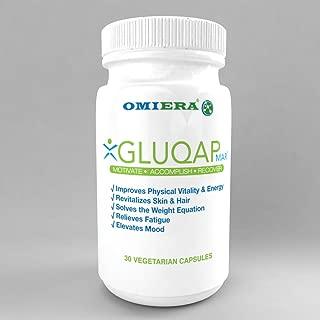 Omiera Gluqap Glutathione Supplement with Resveratrol, Coenzyme Q-10, Vitamin B12 Antioxidant - 30 Capsules