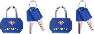 Master Lock 4681EURTBLR Pack of 2 Key Travel Padlocks TSA Certified, Blue or Red, 4 x 3 x 2,2 cm