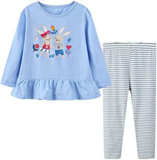 Girl Long Sleeve Shirt Pants Set Cotton Casual Unicorn...