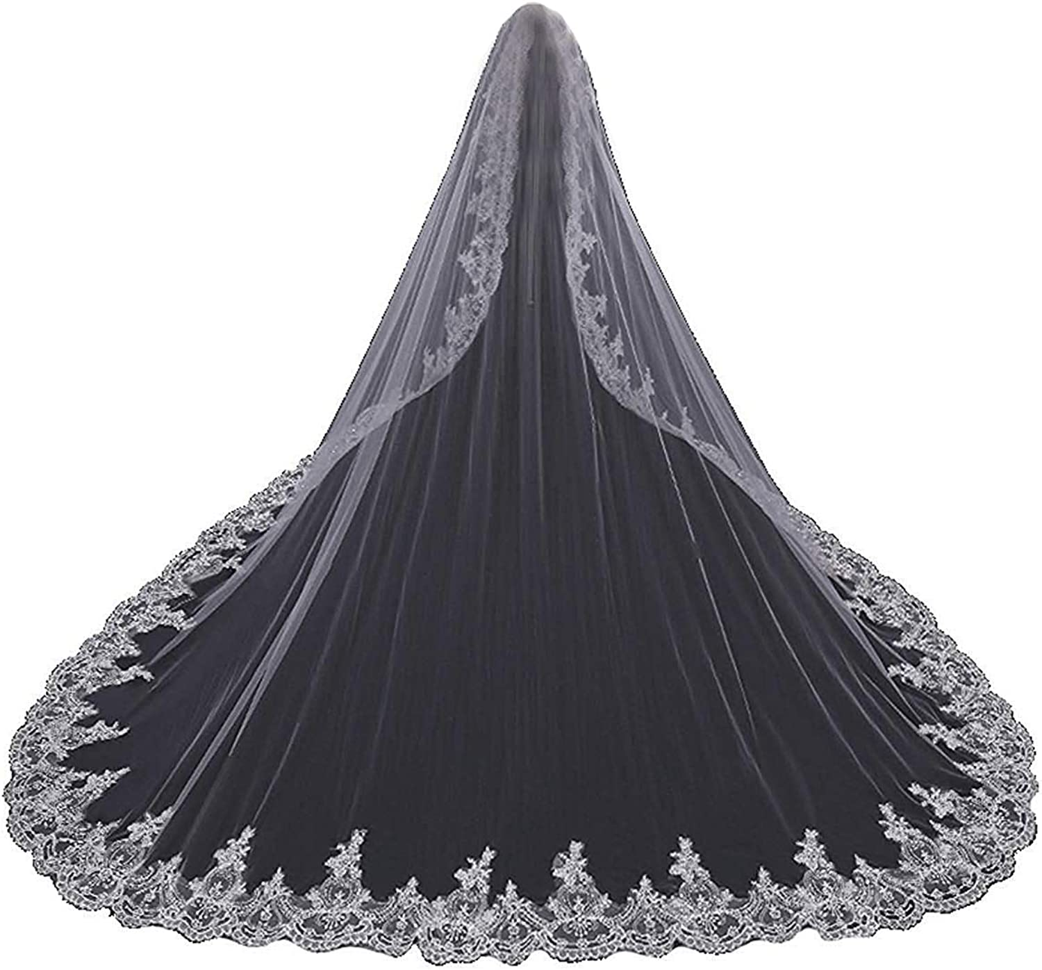 Fenghauvip 5M Cathedral Wedding Veil Lace Edge 1T Veils Ivory for Bride with Comb