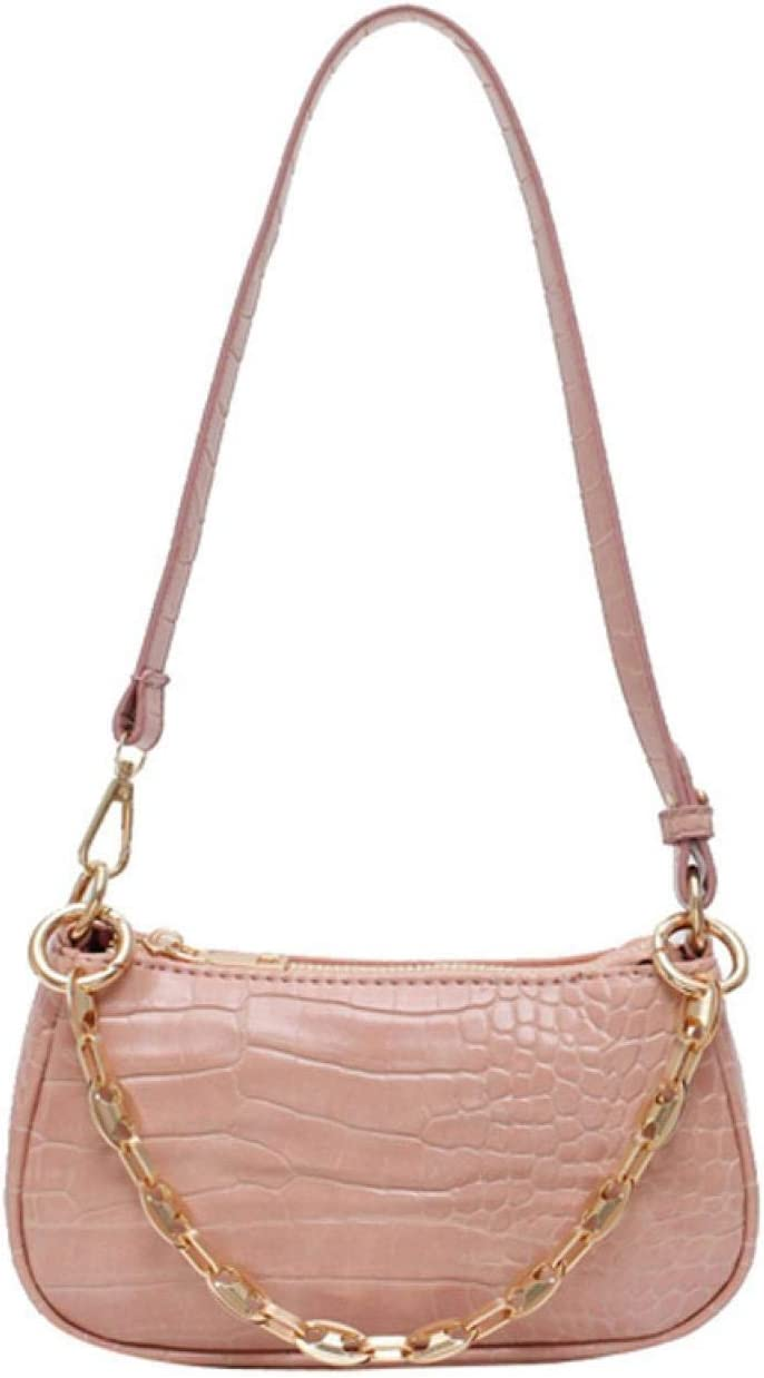 90s Shoulder Bag for Women, PU Leather Small Handbags with Croc Pattern Classic Clutch Crocodile Bag with Chain(Pink)