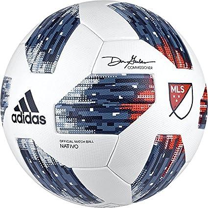 Polvo tijeras Reclamación  Amazon.com : adidas 18 MLS Omb Soccer Ball 5 White/Blue : Sports & Outdoors