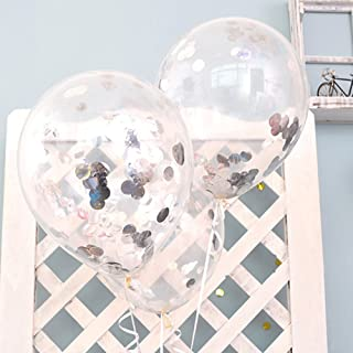 12'' Clear Balloons Prefilled with 2.5cm Silver Confetti for Wedding Birthday Grad Party Chirstmas Decorations (Pack of 12)